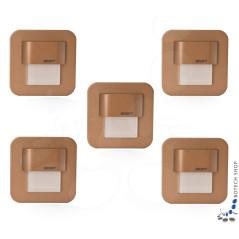 5er Set Wand- Treppenbeleuchtung Salsa Mini Stick, Messinggehäuse, incl. Trafo