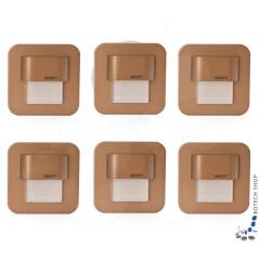 6er Set Wand- Treppenbeleuchtung Salsa Mini, Messinggehäuse, incl. Trafo