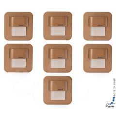 7er Set Wand- Treppenbeleuchtung Salsa Mini Stick, Messinggehäuse, incl. Trafo
